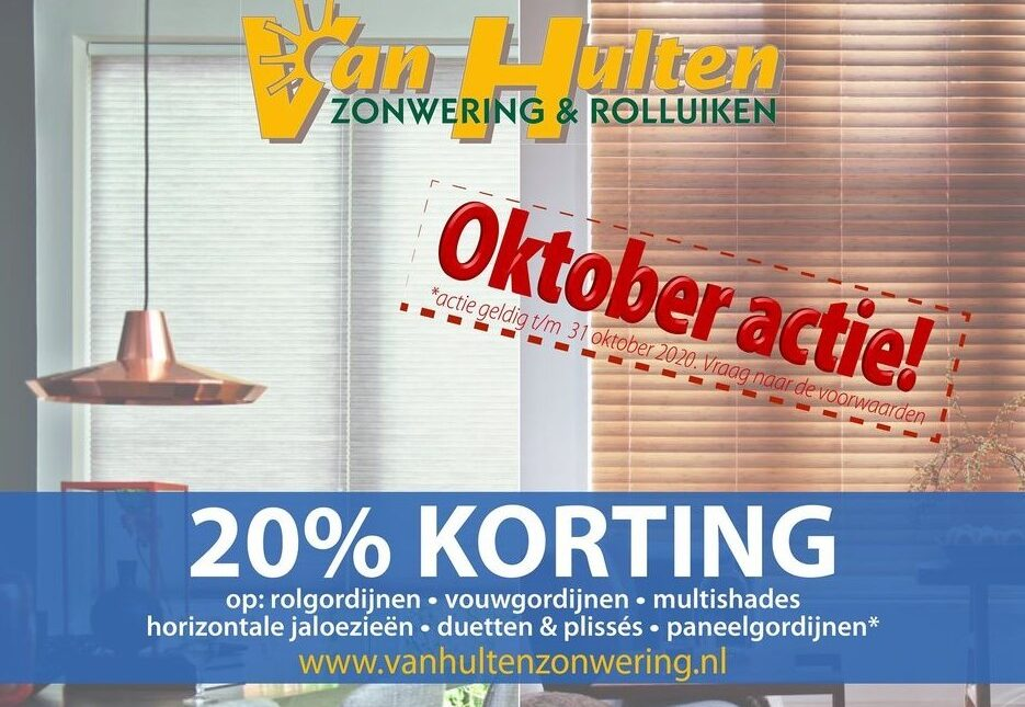 Oktober actie: 20% korting op binnenzonwering!